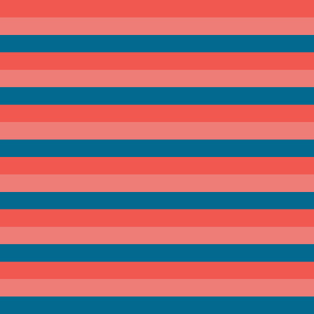 Horizontal stripes blue red coral pattern. Horizontal striped seamless vector background. Great for web backgrounds, fabric, packaging, digital paper projects, coordinate