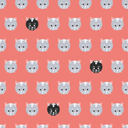 Polka dot cats seamless vector pattern. Cute kitty faces on circles background coral red. Geometric fun kids design. Use for fabric, kids decor, gift wrap, packaging, digital paper, cards, nursery.