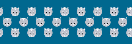 Cute cat faces seamless vector border. Cute kitty polka dots on blue background. Geometric fun kids design. Use for fabric, kids decor, gift wrap, packaging, digital paper, cards, nursery