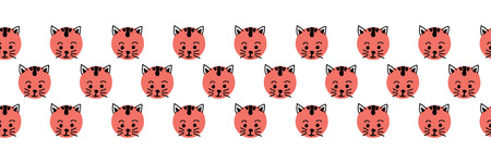 Kids polka dot cats seamless vector border. Cute kitty faces coral pink on white background. Geometric fun kids design. Use for fabric, kids decor, gift wrap, packaging, digital paper, cards, nursery