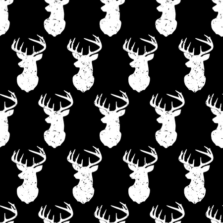 Deer head seamless vector pattern vintage style. Distressed animal background. Monochrome forest animal backdrop retro style. Use for fabric, home decor, digital paper
