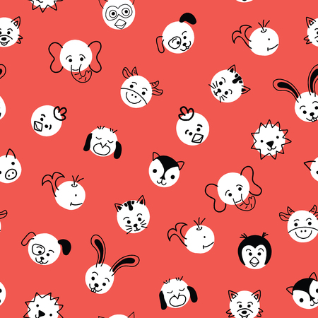 Cute kids doodle animal Polka dots seamless vector background. Pattern with white circles with animal faces on red. Simple doodle design for children.  Use for  kids decor, wallpaper, fabric.
