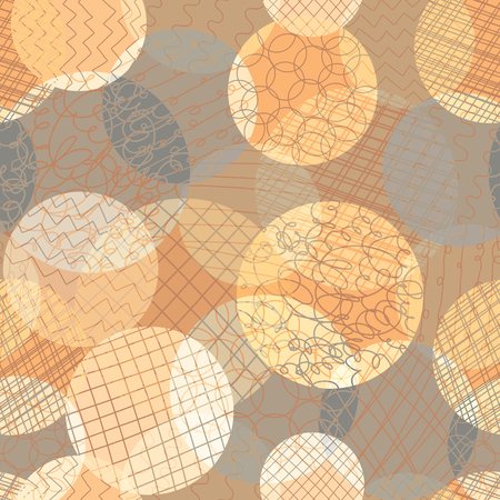 Abstract circles seamless vector pattern. Layered dots different opacity orange, coral, brown repeating background. Modern abstract backdrop. Use for fabric , wallpaper, web banner, digital paper