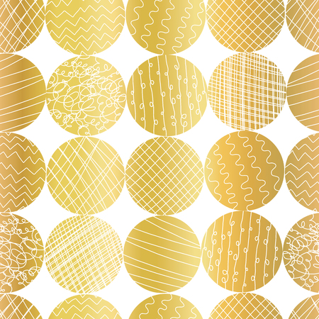 Gold foil textured circle shapes seamless vector pattern. Golden abstract circles on white background. Elegant design for web banner, blog, wedding, digital paper, gift wrap, Christmas, party, invite. Illustration