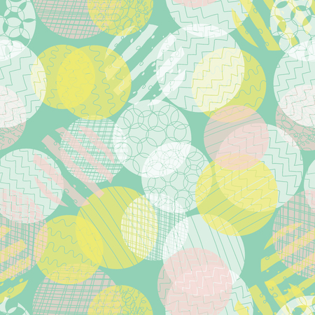Modern abstract background. Layered textured circles seamless vector pattern. Dots different opacity pink, teal, yellow repeating backdrop. Use for fabric , wallpaper, web banner, digital paper.