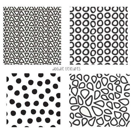 Seamless vector doodle textures set of 4. Repeating backgrounds of  black and white triangles, dots, mosaic shapes, circles. Monochrome pattern. Use for  page fills, background, banner, textile, card