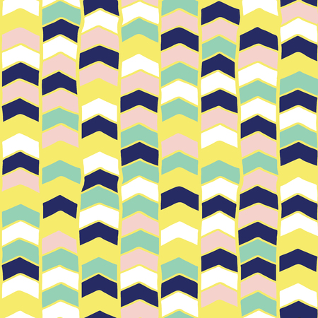 Chevron hand drawn seamless vector pattern. Arrows teal green, yellow, blue, pink, white abstract background. Children repeating backdrop. For fabric, wallpaper, kids decor, web banner, digital paper Illustration