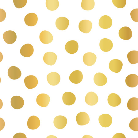 Hand drawn polka dots gold foil on white seamless vector background. Golden circles repeating pattern. Elegant backdrop. Use for invitation, celebration, card, banner, birthday, party, wedding, decor.