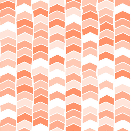 Chevron hand drawn seamless vector background coral pink orange white. Arrows abstract pattern. Repeating backdrop. For fabric, wallpaper, kids decor, web banner, digital paper