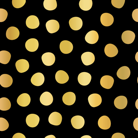 Polka dots gold foil on black seamless vector background. Golden hand drawn circles repeating pattern. Elegant backdrop. Use for invitation, celebration, card, banner, birthday, party, wedding, decor