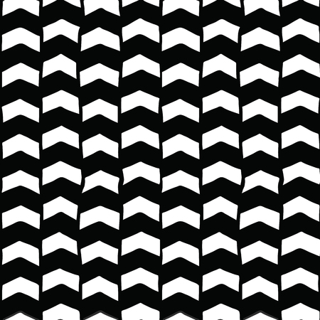 Chevron hand drawn seamless vector background black and white. Monochrome arrows abstract pattern. Repeating backdrop optical illusion. For fabric, wallpaper, kids decor, web banner, digital paper