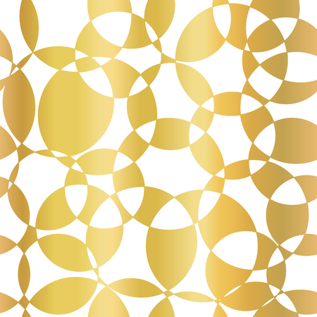 Gold foil abstract background. Intersecting circles seamless vector pattern. Modern elegant background golden overlapping circles on white. Design for web banner, blog, wedding, celebration, invite.