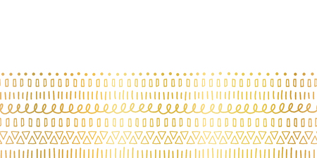 Seamless border Gold foil Ethnic and tribal motifs. Hand drawn golden doodle strokes, lines, triangles repeating ribbon. Modern decor for cards, poster, invitation, wedding, celebration, banner. Illustration