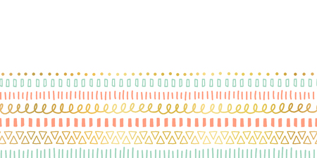 Seamless border doodle strokes, lines, triangles repeating vector pattern. Ethnic and tribal motifs, gold foil elements coral pink teal. Modern decor for cards, poster, invitation, celebration, banner Illustration