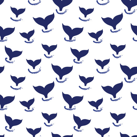 Whale tail seamless pattern vector. Simple Marine background blue and white. Silhouette of whale fin. For fabric, baby clothes, wrapping paper, kids decor, wallpaper. Иллюстрация