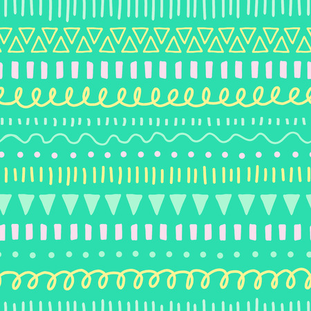 Kids Doodles seamless vector background. Ethnic and tribal style pattern green, yellow, teal, pink. Hand drawn doodle strokes, lines, triangles repeating background. For Easter, fabric, web banner