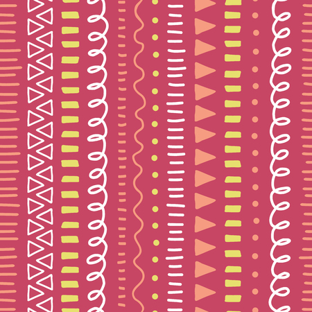 Abstract pink doodle background. Seamless vector pattern. Ethnic and tribal style background pink, yellow, white. Hand drawn vertical strokes, lines, triangles. Cute repeating kids backdrop.
