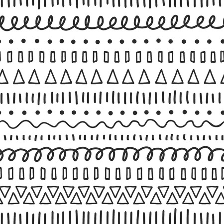 Black doodles seamless vector pattern. Ethnic and tribal motifs. Hand drawn doodle strokes, lines, triangles repeating background. For fabric, web background, surface decor, digital paper, kids print