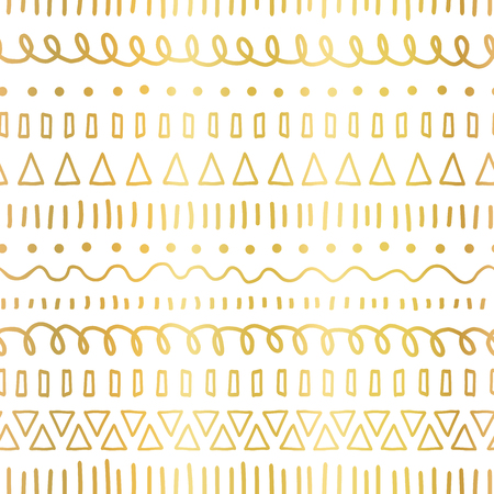 Gold foil doodles seamless vector pattern. Ethnic and tribal motifs. Hand drawn metallic doodle strokes, lines, triangles repeating background. For party invitation, birthday card, wedding celebration