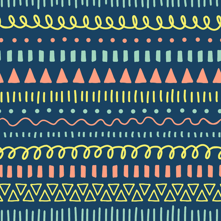 Doodles seamless vector pattern. Ethnic and tribal style background coral pink, blue, yellow, teal. Hand drawn doodle strokes, lines, triangles repeating background. For fabric, web banner, kids decor