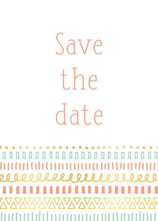 Save the date invitation card template vector. Contemporary design with ethnic and tribal doodle motifs, gold foil elements coral pink teal. Modern decor for birthday card, party invite, celebration Illustration