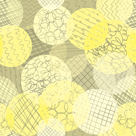 Layered dots different opacity yellow, lime, white, brown repeating background. Abstract circles seamless vector pattern. Modern abstract backdrop. Use for fabric , wallpaper, web banner, paper Çizim