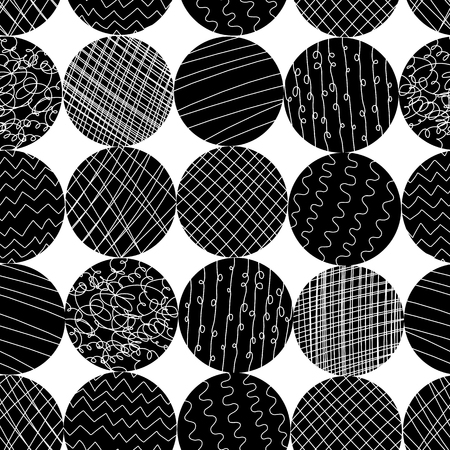 Monochrome textured circle shapes seamless vector pattern. Black and white abstract circles background. Modern hipster repeat tile design for web banner, blog post, fabric, digital paper, home decor.