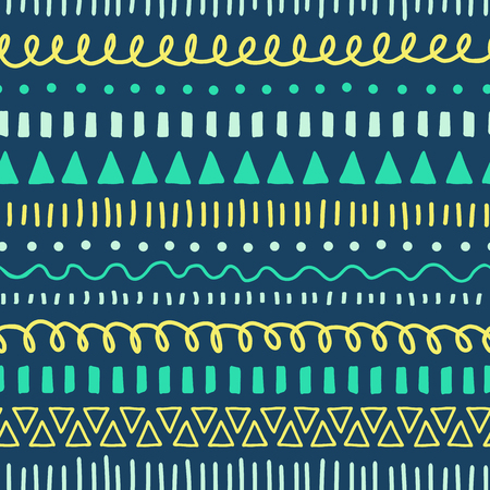 Tribal Doodles seamless vector pattern. Ethnic style background white, blue, yellow, teal. Hand drawn doodle strokes, lines, triangles repeating background. For fabric, web banner, kids decor Illustration