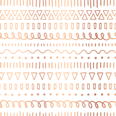 Rose Gold foil doodles seamless vector pattern. Copper Ethnic tribal motifs. Hand drawn metallic strokes, lines, triangles repeating background. Party invitation, birthday card, wedding celebration Illustration
