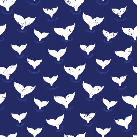 Whale fin seamless pattern vector. Simple Marine background blue and white. Silhouette of whale tail. Ocean theme design for fabric, baby clothes, wrapping paper, kids decor, wallpaper.