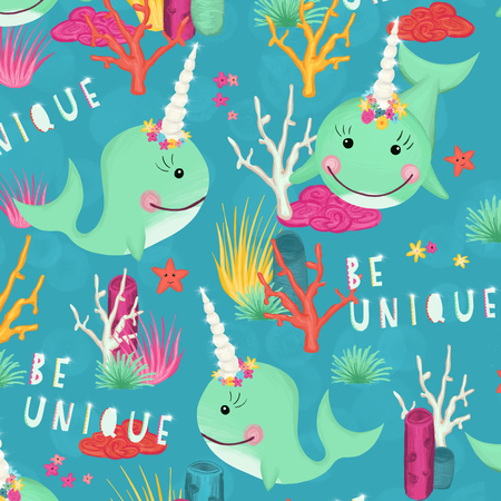 Marine seamless pattern with cute hand drawn narwhals and coral reef. Be unique lettering. Unicorn whales background for kids. Childish texture for fabric, textile, kids wear, nursery, wrapping, decor