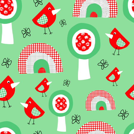 Cute birds trees and rainbow seamless pattern for kids. Collage style childish background for children in red green and white. Use for fabric, kids decor, wallpaper, nursery, gift wrap, Easter, spring Stock Photo