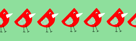 Cute birds seamless border for kids. Collage style childish repeating elements for children red green and white. Use for fabric, ribbon, kids decor, wallpaper, nursery, card design, Easter, spring Stock Photo