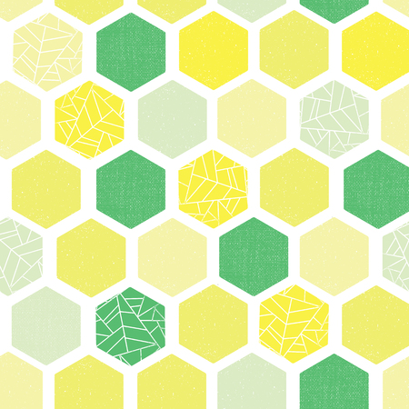 Hexagon background seamless vector pattern. Green lime yellow white Geometric abstract art with grunge texture. Modern Screen print retro style. Geometric distressed hexagon. For wallpaper, home decor