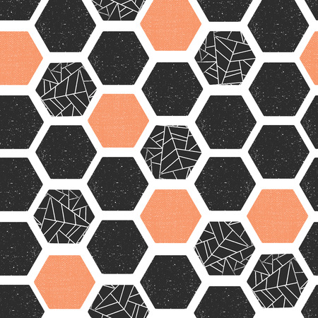 Hexagon seamless vector pattern. Geometric background with grunge texture. Black coral white modern abstract backdrop. Screen print retro style. Geometric distressed hexagon. For wallpaper, home decor Illustration