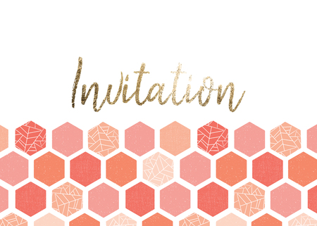 Invitation card template design with pink, peach, coral screen print style hexagon pattern. Geometric Grunge style. Gold foil lettering. For wedding, summer party, celebration, birthday invite, shower
