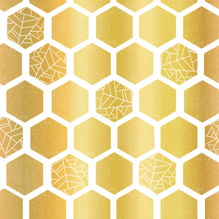 Gold foil hexagon shapes seamless vector pattern. Geometric golden hexagons background with texture. Elegant design for card, birthday party, wedding invitation, celebration, digital paper, home decor Illustration
