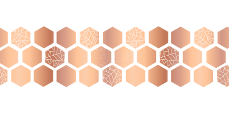 Hexagon copper foil seamless vector border. Geometric rose gold hexagons with texture. Elegant design for card design, birthday party, wedding, celebration, banner, digital paper, home decor. Çizim