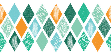 Contemporary abstract design for men. Rhombus shapes border seamless. Collage style vector pattern. Modern tropical summer geometric texture. Blue green teal orange shapes with palm leaf, animal skin
