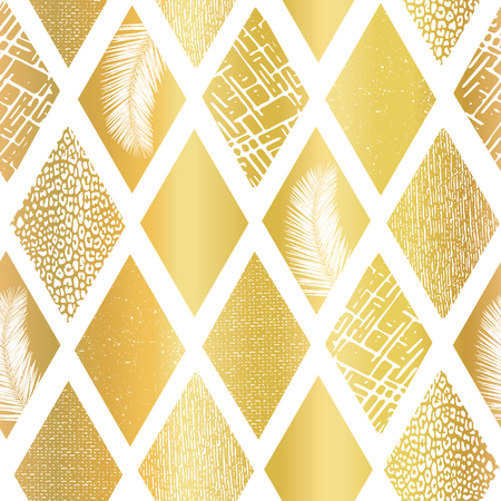 Gold foil collage rhombus shapes seamless vector pattern. Contemporary abstract background geometric textured shapes. Golden rhombus shapes with tropical palm leaf, animal skin and other textures.