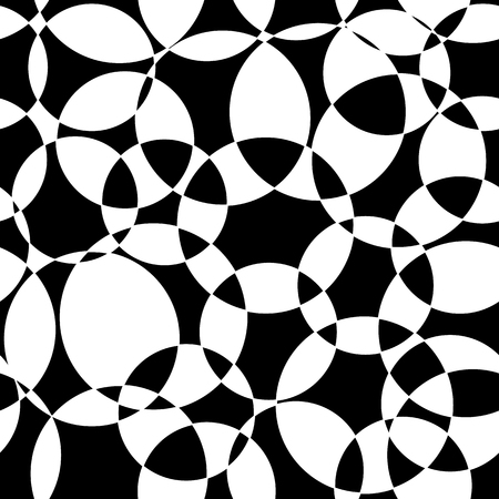 Monochrome Abstract background black and white intersecting circles seamless vector pattern. Modern backdrop overlapping circles. Design for web banner, blog, digital paper, packaging, decoration. Çizim