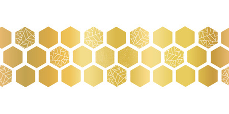Gold foil hexagon shapes seamless vector border. Geometric golden hexagons with texture. Elegant design for cards, birthday party, wedding invitation, celebration, banner, digital paper, home decor.