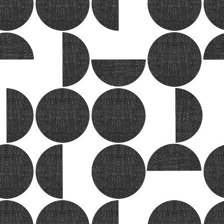 Modern seamless geometric vector pattern semicircles circles grunge texture. Abstract background monochrome screen print style. Trendy art for paper, textile, fabric print, decor, packaging.