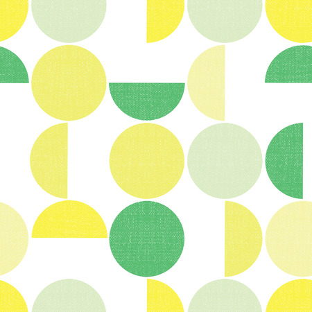 Geometric seamless vector background semicircles circles grunge texture. Abstract modern pattern green yellow lime screen print style. Trendy art for paper, textile, fabric print, decor, packaging.
