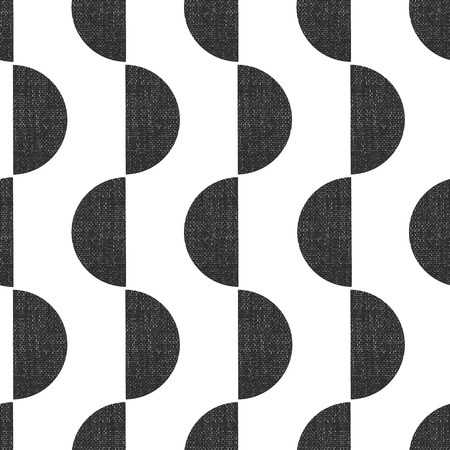 Monochrome screen print style seamless geometric vector pattern semicircles vertical with grunge texture. Abstract Art Deco background. Trendy art for paper, textile, fabric print, decor, packaging.
