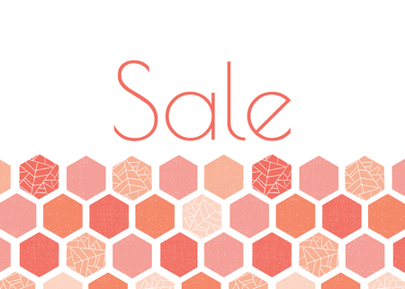 Sale advertisement banner template design with pink, peach, coral hexagon pattern. Grunge screen print style. Modern geometric card template. For summer spring sale, web banner, flyer, card, poster,