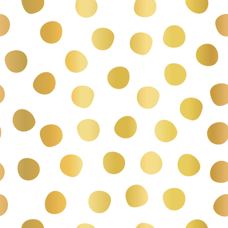 Hand drawn polka dots gold foil on white seamless vector background. Golden circles repeating pattern. Elegant backdrop. Use for invitation, celebration, card, banner, birthday, party, wedding, decor Illustration