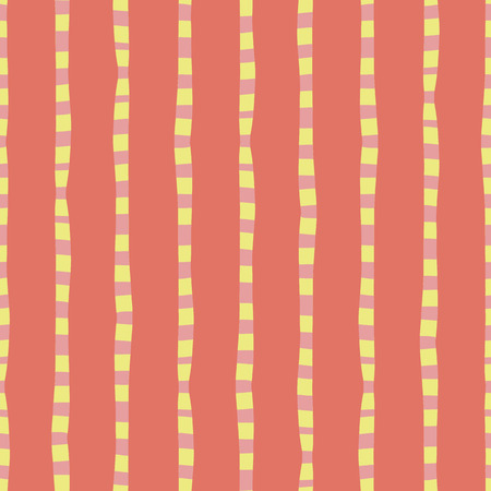 Vertical hand drawn stripes coral pink yellow seamless vector background. Irregular lines repeating abstract pattern. Naive kids style. Use for kids market, summer spring coordinate, banner, fabric Illustration