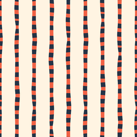 Vertical irregular hand drawn stripes red blue white seamless vector background. Repeating lines abstract pattern. Naive kids style. Use for kids market, summer spring coordinate, banner, fabric