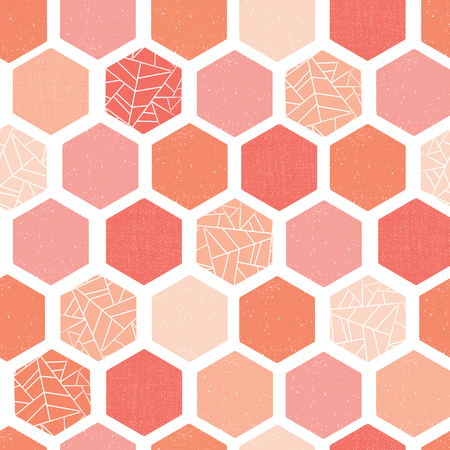 Hexagon Seamless vector pattern. Coral pink hues white geometric abstract background with grunge texture. Modern Screen print retro style. Geometric distressed hexagon. For wallpaper, home decor